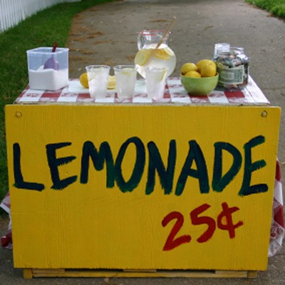 Lemonade stand🍋🍋🍋🍋  A lemonade stand is a great way to earn money. Me and my friends usually add iced  water or peach tea, popcorn and popcicle a. Just to make more money. But it's up to you. We usually have a cooler for the water and popsicles & filled with ice .