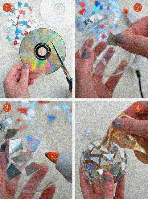 step 1 cut pieces out of a clear CD  step 2 get a plastic ball  step 3 using regular glue or a hot glue gun glue pieces onto ball step 4 fill in missing spaces and decorate !!!