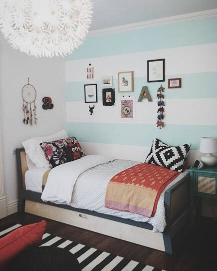 Or you can do stripes on one wall instead of a solid color