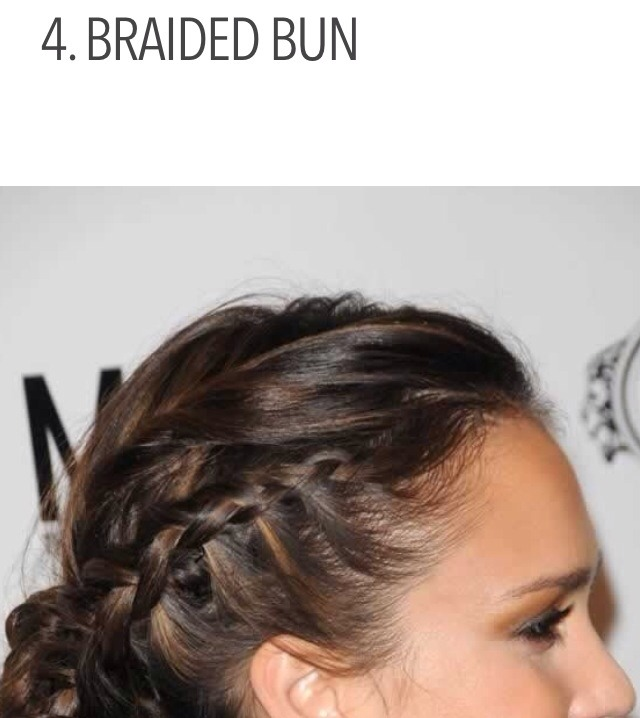 4. BRAIDED BUN   If you have a bit of time to make yourself look fancy, try this style. First, section off your hair so that you're able to make two separate, small braids. Once you're finished, you can put your hair up in a bun the way that you normally would.