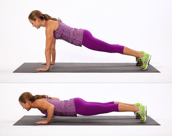 Push up, ensuring that your feet are flat. Curl your toes to force your body to push on the balls of your feet. Once you've mastered form without any weights, start adding some gradually, until you reach an amount where you are struggling to do between eight and twelve reps.