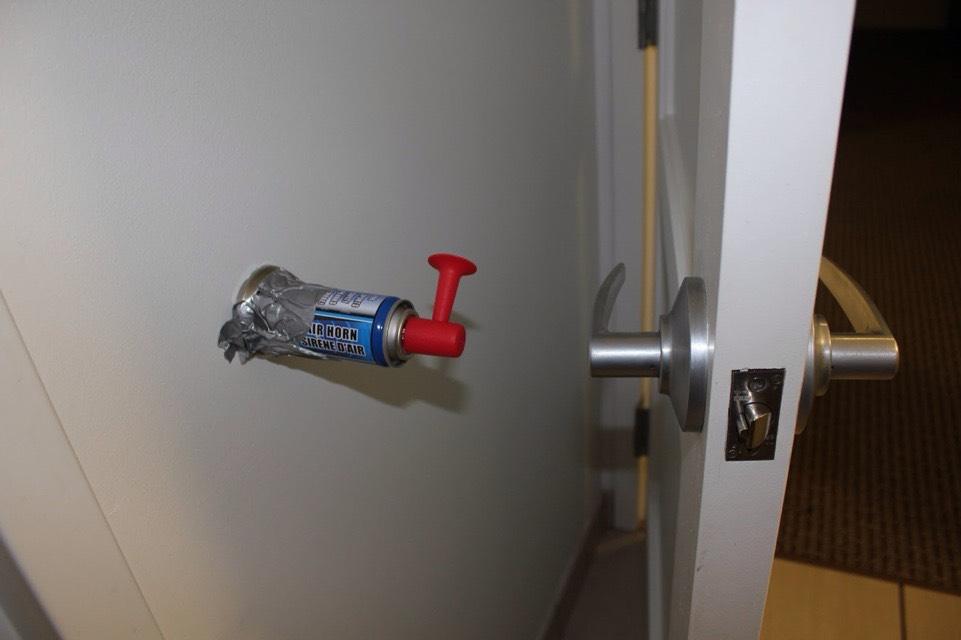 Install an air horn as a door wall protector