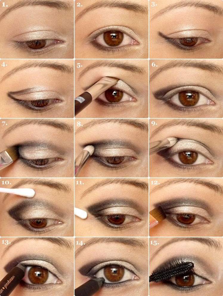 1. Inner eye lid;  lightest highlight color 2. Middle of eye lid; medium shadow color 3 outer Eye lid; darkest smokey color 4.blend colors
