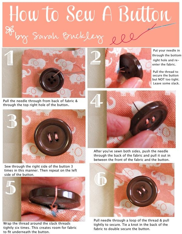 8. How To Sew A Button:  You should never have to pay anyone to fix a button. Everyone can learn how to sew a button, even you. The most difficult thing is going to the store to buy a needle and thread.