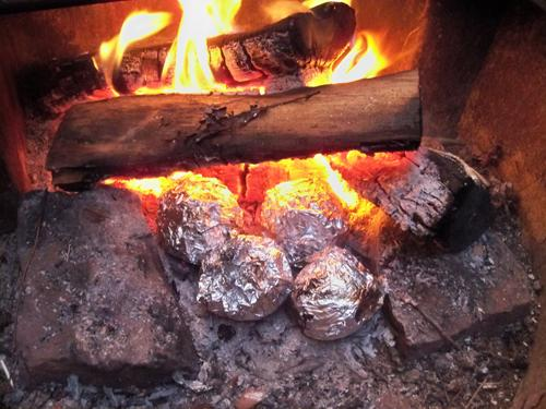 Set the oranges in the campfire coals for about 20 minutes.