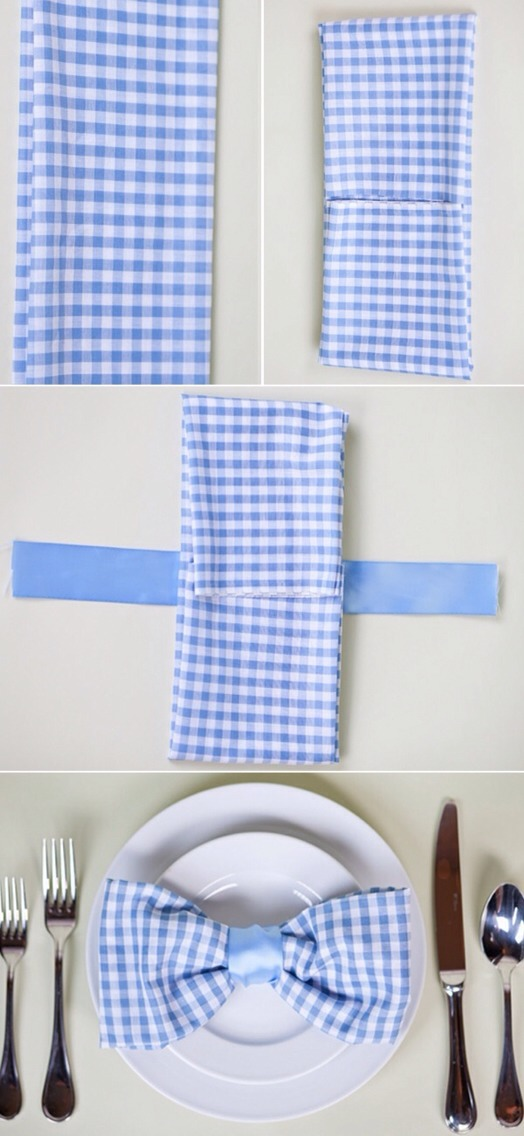 Bow tie napkin fold is for nice dinner events that you make. You can use these at any dinner event or just a family dinner. You just have to make sure that you follow the directions and go from there.
