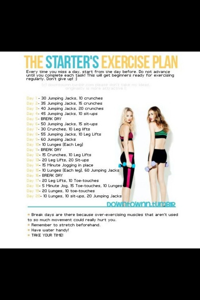 If you don't want to do a hard workout, but still wish to workout this 20 day starter plan could be a good exercise set up.😊 Hope I helped!