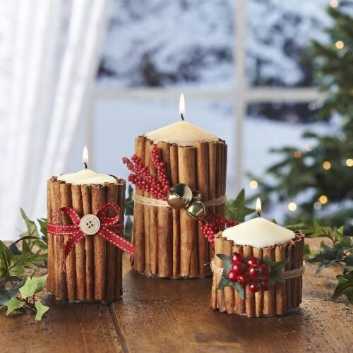 Boring candle? Cinnamon sticks will not only look good, but they will also add a great smell to you're living room!