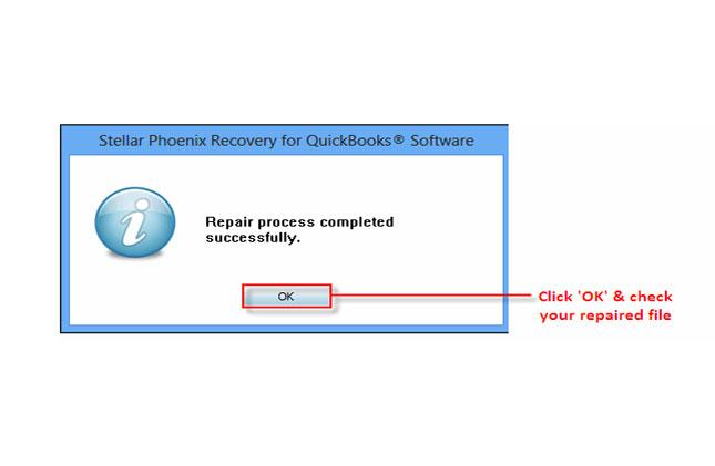 Step 8: If repair process is successfully completed then a message will appear as 'repair process completed successfully'. And then click 'OK' and close the box and you are done.