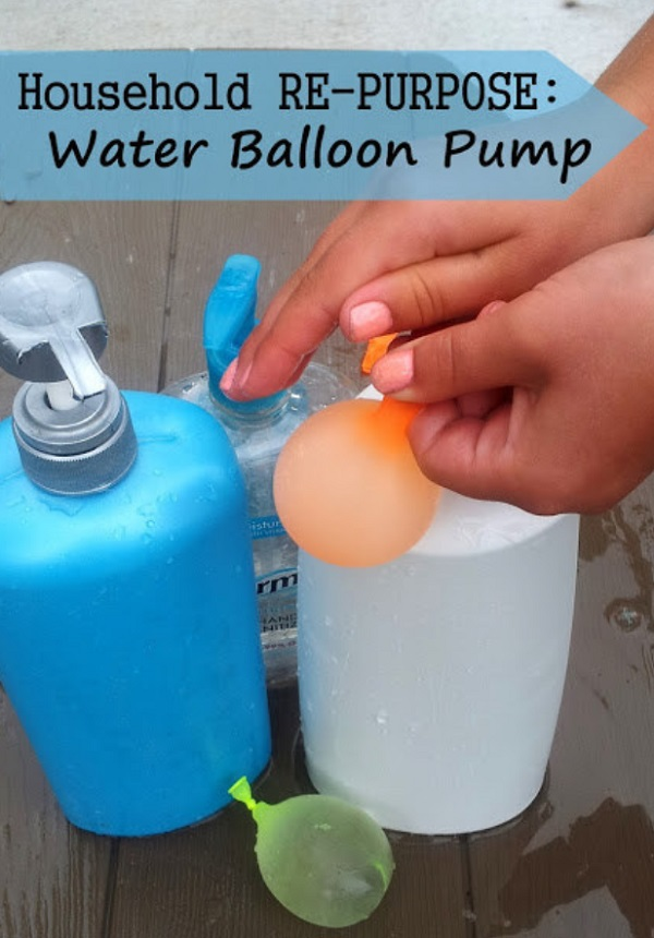 Repurpose finished soap dispensers for filling up water balloons.