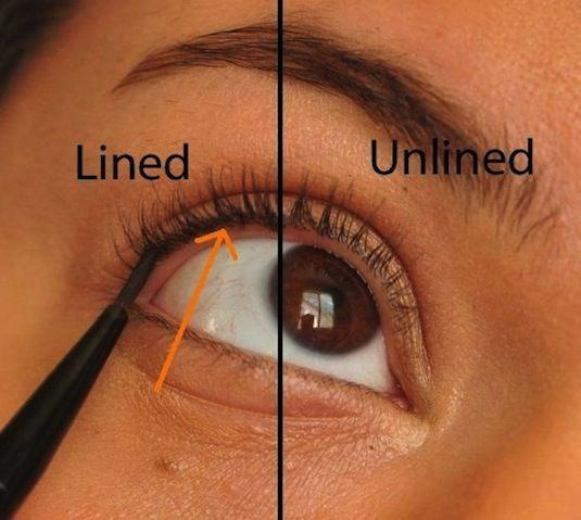 10. Tightlining What is tightlining? It's a way of applying your liner right in between your lashes. This is a great way to appear as though you're not wearing any makeup at all, yet adding a little bit of color and definition to your eyes, and making the base of your lashes appear thicker