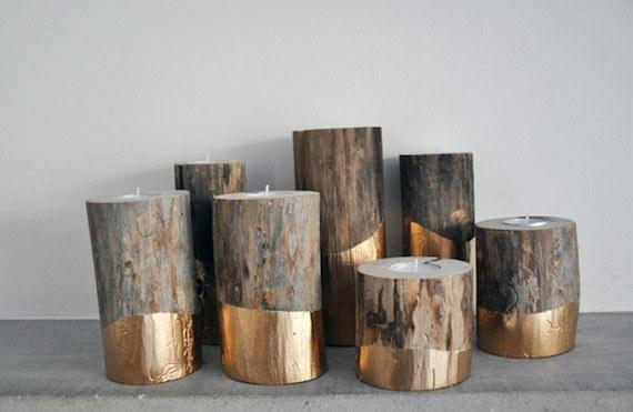 1. These gold-dipped log candle holders.  https://blog.etsy.com/uk/2013/12/12/gold-dipped-log-candleholders-by-lifeovereasy/