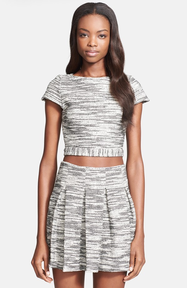 You can never be to matchy-matchy with a crop top and skirt