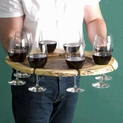 An awesome wine tray that carries 8 glasses of wine at a time