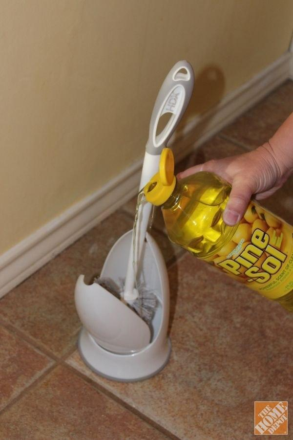 40. Keep your toilet brush clean and smelling fresh by pouring a bit of Pine-Sol in the bottom of the holder.