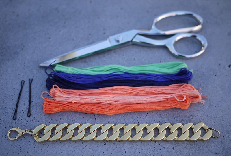 You'll need: a curb link bracelet embroidery thread two bobby pins a pair of scissors