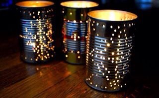 Got some empty cans you don't know what to do with? Use a hammer and nail to puncture holes in them! You can make various designs like stars or zig zags, paint them, or whatever you want! You can even run some string or wire through them and hang them up outside 😃