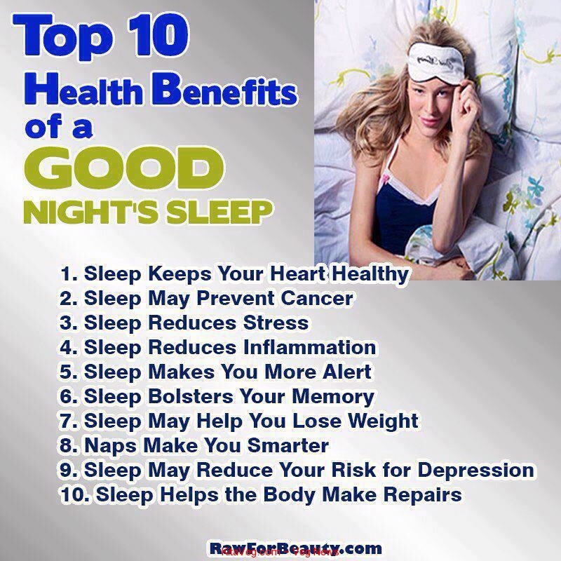 So make sure you get 6-8 hours of sleep everyday to ensure good health! Too little sleep can do horrible things to your body! But be sure you don't get too much sleep, for excessive sleep can lead to obesity!