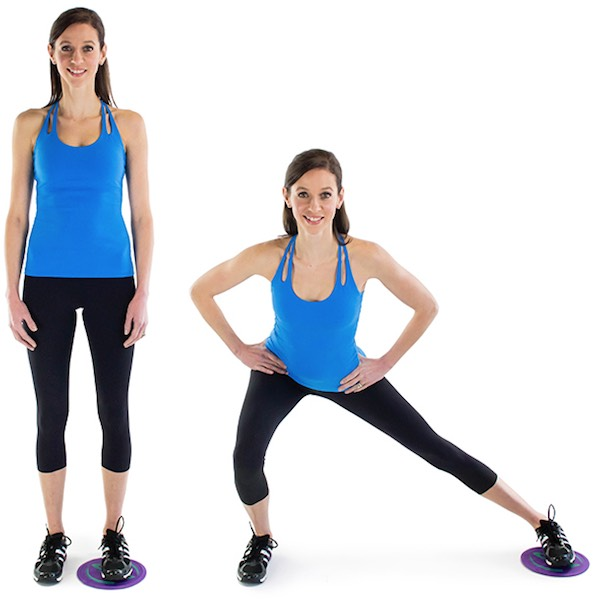 1. Side Lunge with Glider:Grab your gliders! If youdon't have this equipment, don't worry. You can use a paper plate, plastic lid or dish towel instead! This move is excellent for toning your glutes and thighs, so get gliding!
