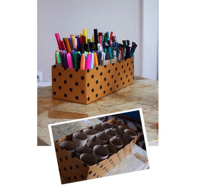 Needed: an old shoe box, toilet paper rolls,&decorations Simply decorate the shoebox any way you'd like and place toilet paper rolls inside😊great way to recycle and reuse objects and also great way to organize your various kinds of supplies😊