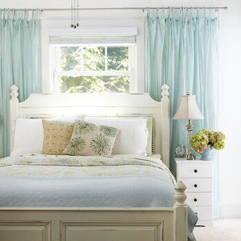 Bed and curtains...