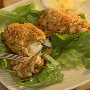 Crab cakes get a Louisiana spin with Cajun spice and corn. Makes: 4 servings, 2 croquettes each.