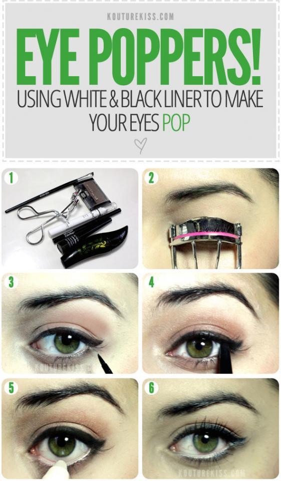 Want to make your eyes stand out and give them that pop? Well, here is a simple tutorial on how to use eyeliner to make your eyes pop. The black of the eyeliner gives the white in your eyes that little boost they need.