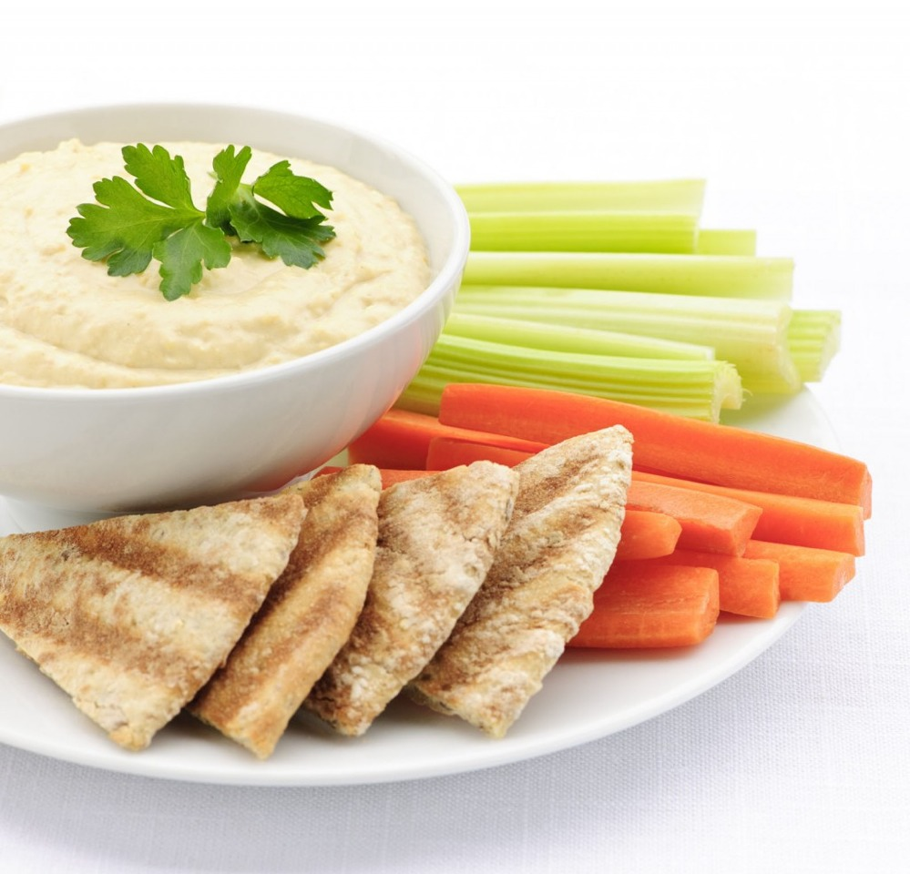 Some bread with hummus