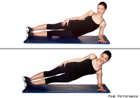 SIDE PLANK HIP TAP: from the side plank position bring your hip down to tap the floor (keep tension though and don't drop it). Bring it back up and squeeze (2 count up and 2 count down). Do 10 reps and switch sides (10 on each side).