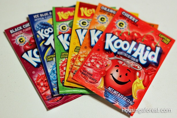 All you need is: -1 cup water  -2 packages of the Kool-aid colour of your choice