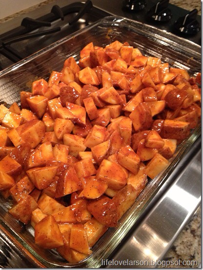 Directions: 1.Preheat oven to 500 degress (hot, hot, hot).  In a large bowl mix together the olive oil, salt, pepper, paprika, garlic powder & hot sauce. Add the cubed potatoes and stir to coat.