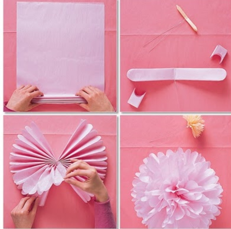 Use 10 square sheets of tissue paper, fold over about an inch, then back on its self. Like a paper fan. Secure in the middle, cut the ends and fluff up!
