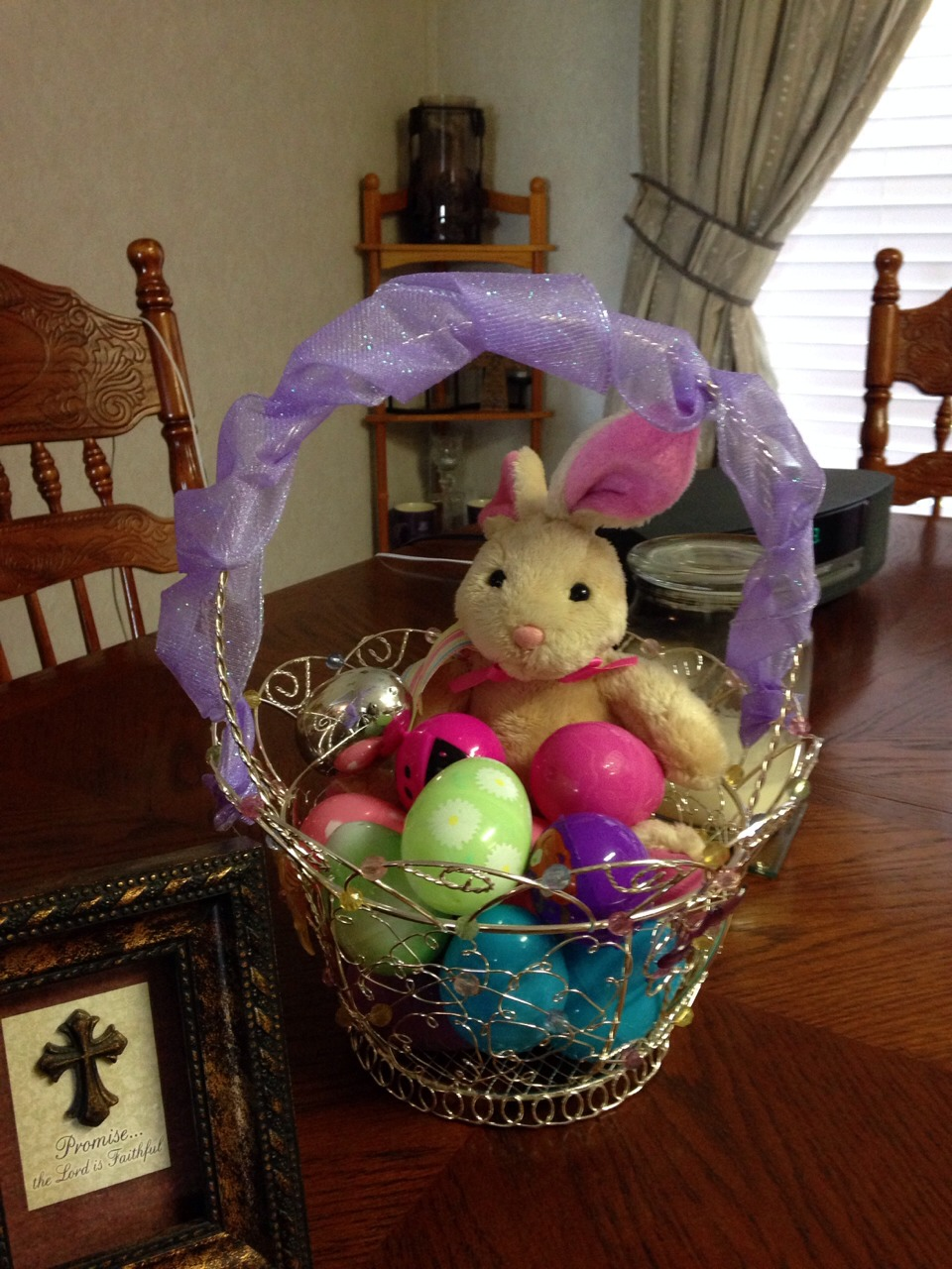 Need: Easter bucket/basket Plastic Easter eggs Stuffed bunny or anything Eastery Wired ribbon