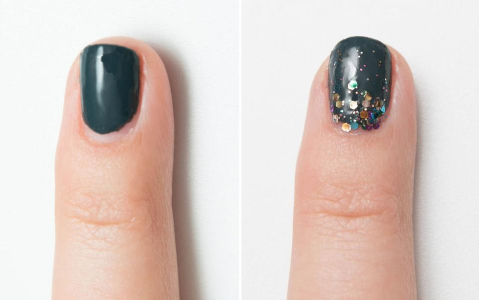 2. Hide a manicure that's growing out by creating a glitter ombré effect starting at the base of your nails. The best way to distract from a chipped or overgrown manicure is, well, glitter. It's pretty and will last for what feels like for-ev-er.