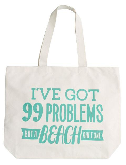 Cute Tote Between sunscreen, your fave new book, a towel, and snacks, you have a lot to carry! This fun canvas tote fits all your beach gear, and you won't have to worry about it getting ruined if it gets wet.