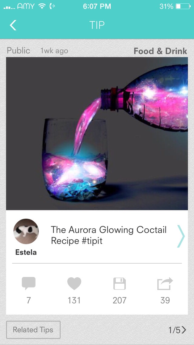 Picture is photoshopped! Your drink will NOT end up glowing like that.