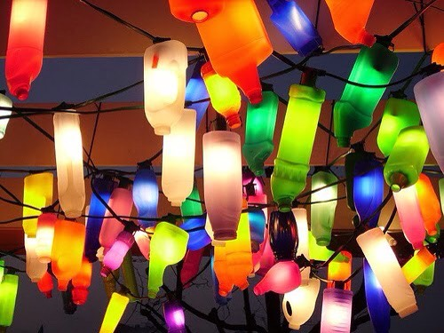Plastic bottles into party lighting