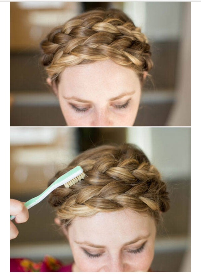 I know we've all been frustrated with fly away hairs. Use a toothbrush and hairspray to smooth down any hairs!