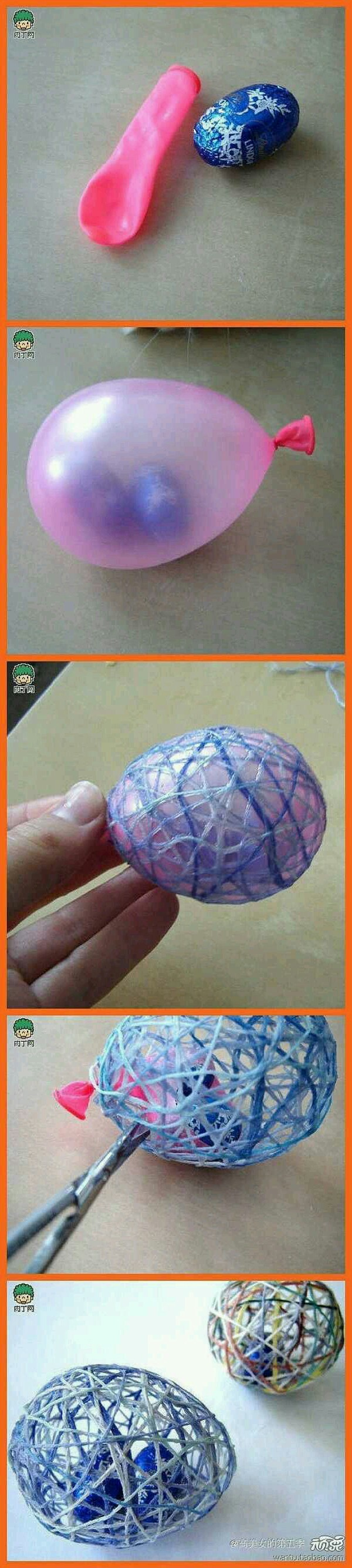 coat yarn in Modge podge and wrap around balloon. let dry and then pop balloon.