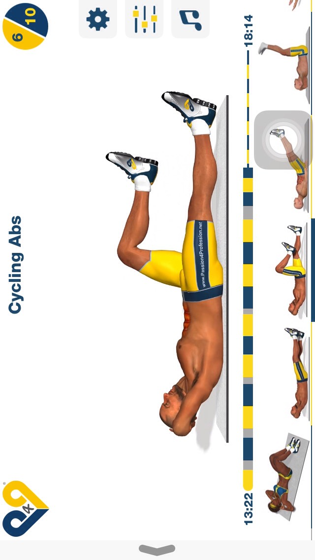 cycling abs, lay on your back w/ your head slightly elevated & while keeping your legs off the ground cycle as if you were pedaling on a bike; 10 reps.
