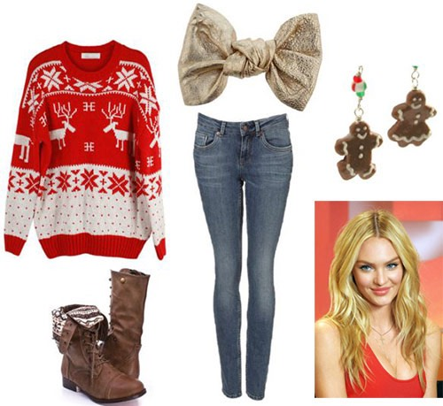 Jeans and a cute christmas theme sweter with any  boots