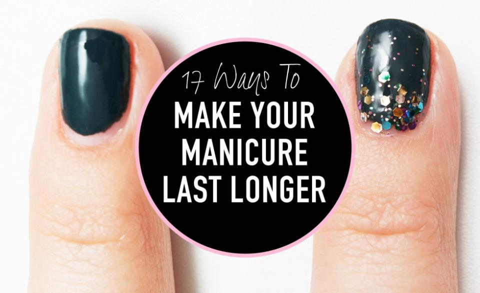 Is your gel mani growing out? Try a reverse glitter ombré look and these other tricks to keep your nails looking fab.