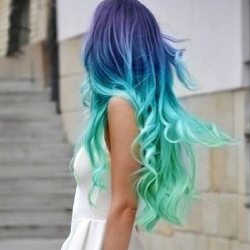 Purple  blue and teal ombre