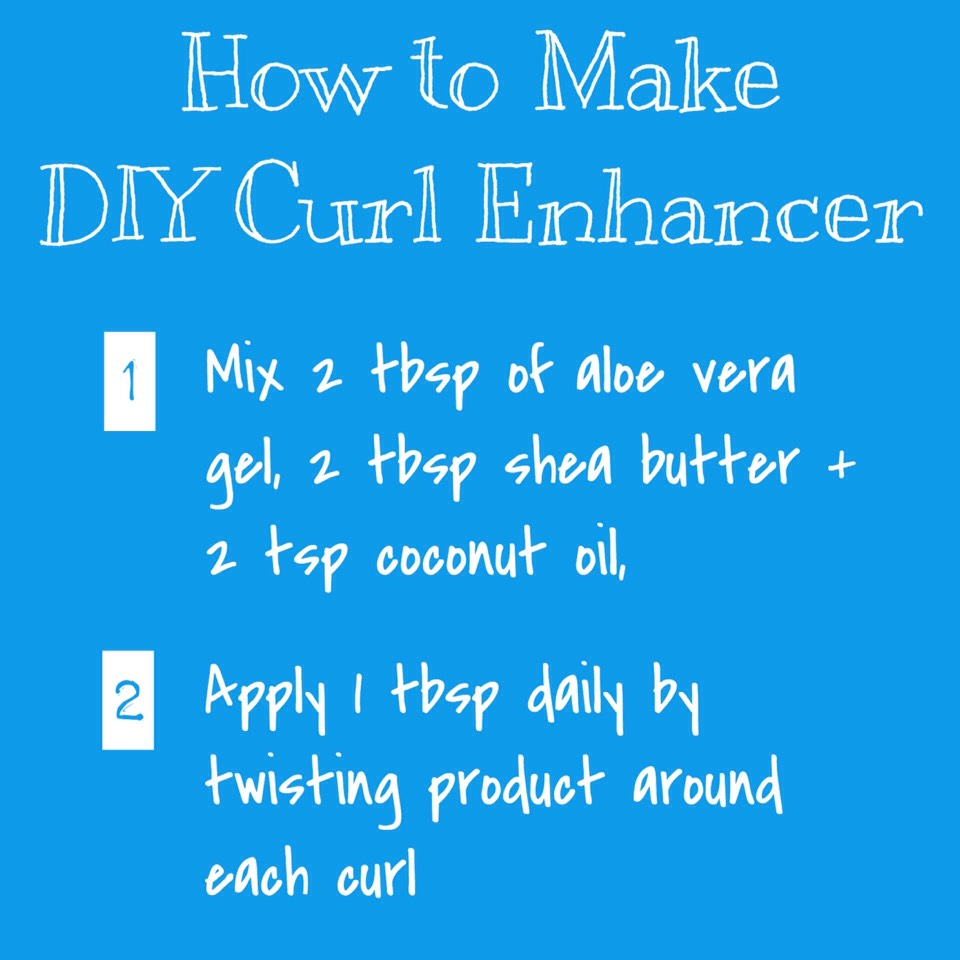 CURL ENHANCER | In a bowl, mix together 2 tablespoons of aloe vera gel, 2 teaspoons of coconut oil + 2 tablespoons of shea butter. Apply 1 tablespoon daily by twisting the product around each curl for definition