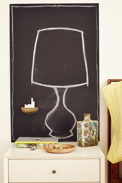 4. Chalkboard Wall Painting squares on your wall with chalkboard paint will give you and your friends somewhere to get artistic! Flip a pretty drawer pull upside down and attach to the wall for a clever way to store your chalk.