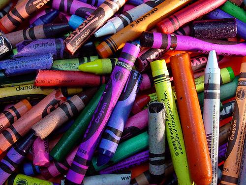 wax crayons on wall?
