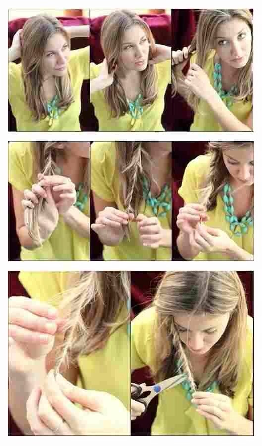 Get rid of split ends by twisting locks of hair and snipping the ones you see sticking out ----->>>