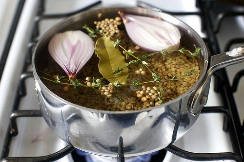 Cook lentils: Pick over and rinse lentils. Place them in a small/medium saucepan with the halved shallot, thyme branches, bay leaf, some salt and 4 cups of water. Simmer the lentils over medium heat for 25 to 30 minutes, until firm-tender. Drain (discarding shallot, thyme and bay leaf) and keep warm