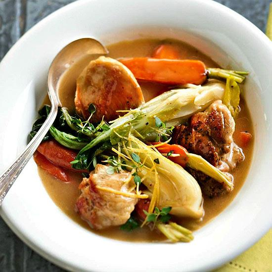 A lightened up classic chicken stew with the best of spring vegetables.