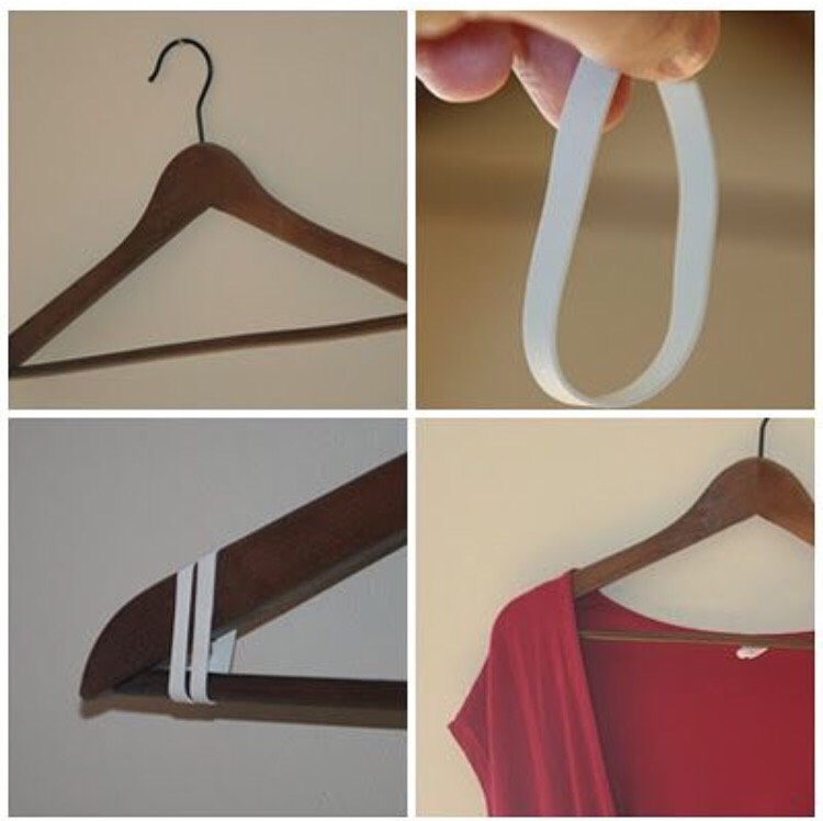 Use a rubber band to make a no-slip hanger